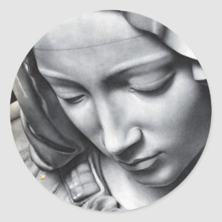 Michelangelo's Pieta detail of Virgin Mary's face Classic Round Sticker