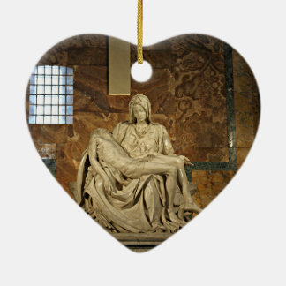Michelangelo's Pieta in St. Peter's Basilica Ceramic Heart Ornament