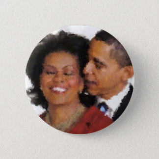 Michelle and Barack Watercolor 2 Inch Round Button