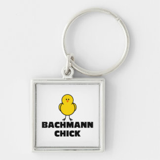 Michelle Bachmann Chick Silver-Colored Square Keychain