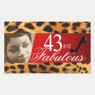 Michelle Leopard Photo Party Wine Rectangle Sticker