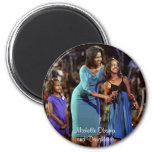 Michelle Obama and Daughters 2 Inch Round Magnet