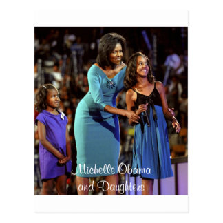 Michelle Obama and Daughters Postcard