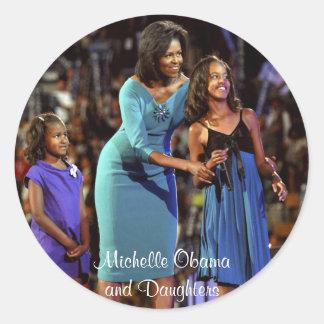 Michelle Obama and Daughters Round Sticker