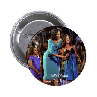 Michelle Obama et filles Macaron Rond 5 Cm
