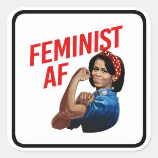 Michelle Obama - Feminist AF - red --  Square Sticker