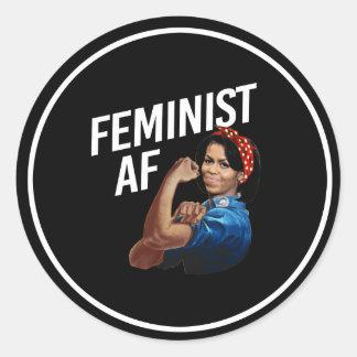 Michelle Obama - Feminist AF - white --  Classic Round Sticker