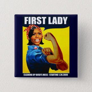 Michelle Obama Rosie the Riveter 2 Inch Square Button