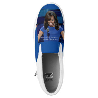 """Michelle Obama """"We Go High"""" Slip On Sneakers Shoes"""