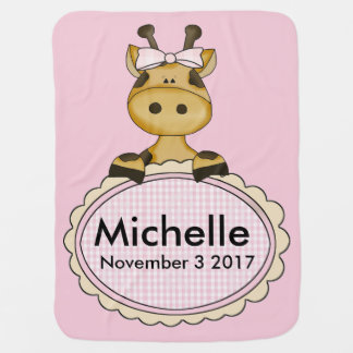 Michelle's Personalized Giraffe Baby Blanket