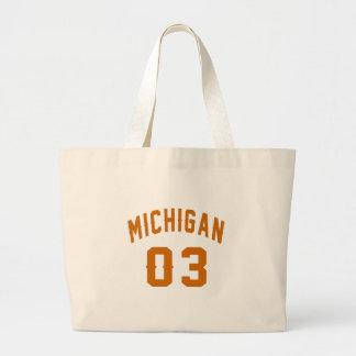 Michigan 03 Birthday Designs Large Tote Bag