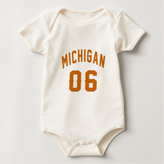 Michigan 06 Birthday Designs Baby Bodysuit