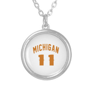 Michigan 11 Birthday Designs Silver Plated Necklace
