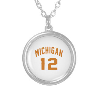 Michigan 12 Birthday Designs Silver Plated Necklace