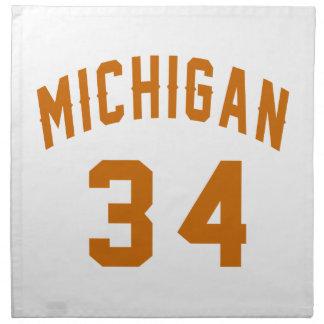 Michigan 34 Birthday Designs Napkin