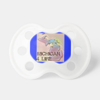 """Michigan 4 Life"" State Map Pride Design Pacifier"