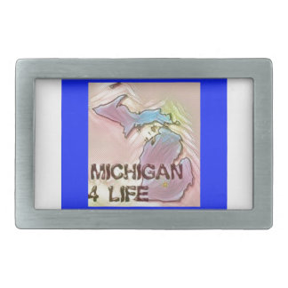 """Michigan 4 Life"" State Map Pride Design Rectangular Belt Buckle"