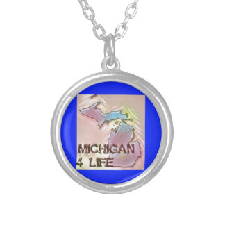 """""""Michigan 4 Life"""" State Map Pride Design Silver Plated Necklace"""