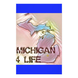 """Michigan 4 Life"" State Map Pride Design Stationery"
