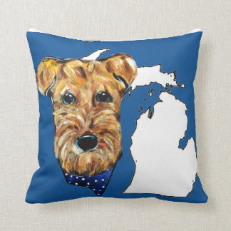 MICHIGAN AIREDALE THROW PILLOW