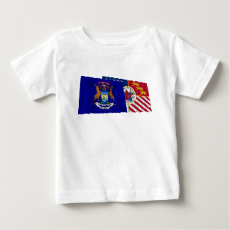 Michigan and Detroit Flags Baby T-Shirt