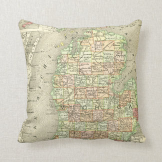 Michigan Antique Map Colorful State Mitten Throw Pillow