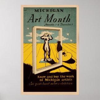 Michigan Art Month American Vintage WPA Poster