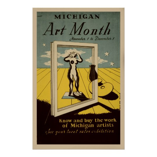 Michigan Art Month American Vintage WPA Poster