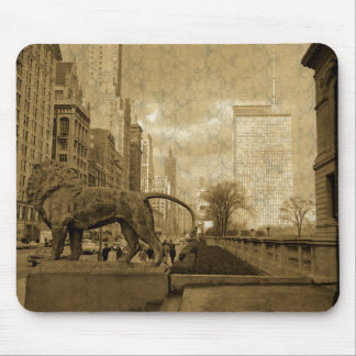 Michigan Avenue Chicago 1966 Art Museum Wallpaper Mouse Pad