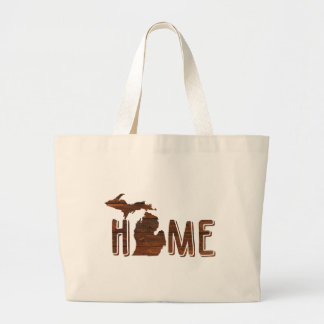Michigan | Brown Wood Silhouette | Beautiful Large Tote Bag