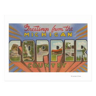 Michigan (Copper County) - Large Letter Scenes Postcard