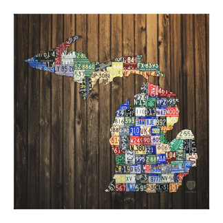Michigan Counties License Plate Map Canvas 2014