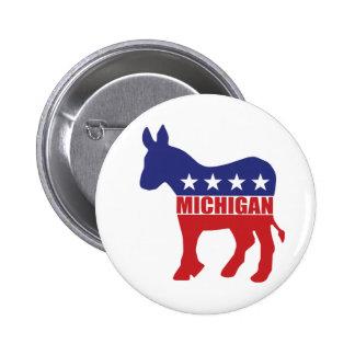 Michigan Democrat Donkey Pinback Button