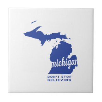 michigan | don't stop believing | blue ceramic tiles