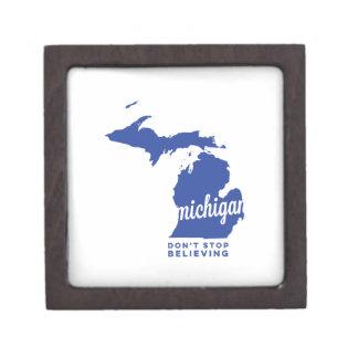michigan | don't stop believing | blue premium keepsake box