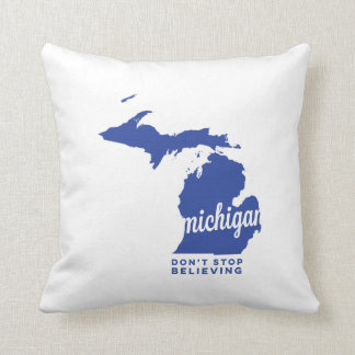 michigan | don't stop believing | blue throw pillow