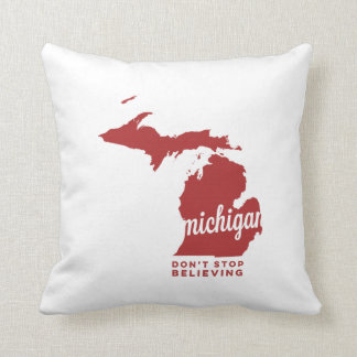 michigan | don't stop believing | crimson throw pillow