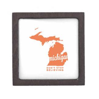 michigan | don't stop believing | orange premium keepsake box