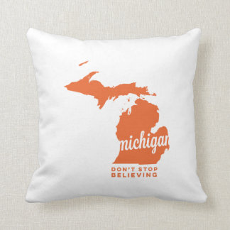 michigan | don't stop believing | orange throw pillow