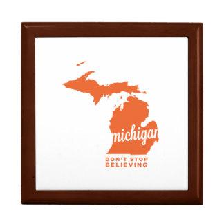 michigan | don't stop believing | orange trinket boxes