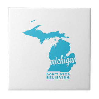 michigan | don't stop believing | sky blue ceramic tile