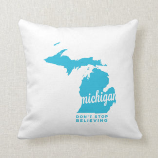 michigan | don't stop believing | sky blue throw pillow