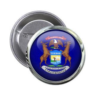 Michigan Flag Glass Ball 2 Inch Round Button