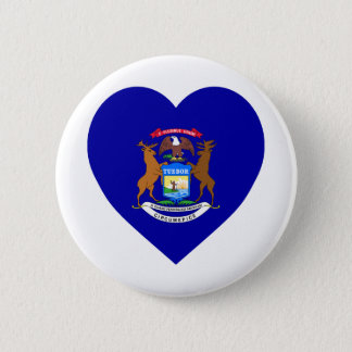 Michigan Flag Heart 2 Inch Round Button