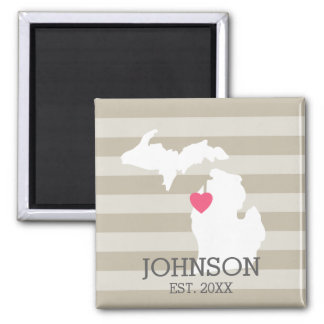Michigan Home State City Map - Custom Wedding Square Magnet
