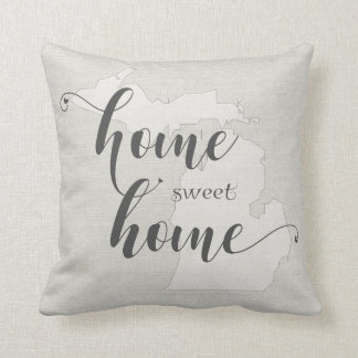 Michigan - Home Sweet Home burlap-look Throw Pillow