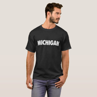 Michigan in White Text on Dark Shirt