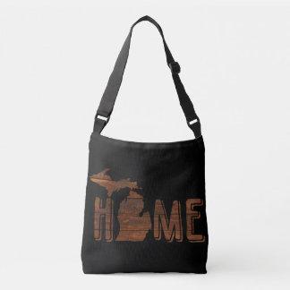 Michigan is Home | Brown Wood Planks | Souvenir Crossbody Bag