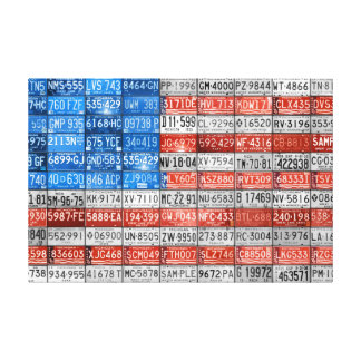 Michigan License Plate Flag of USA Wrapped Canvas