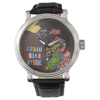 Michigan License Plate Map Art Wrist Watch